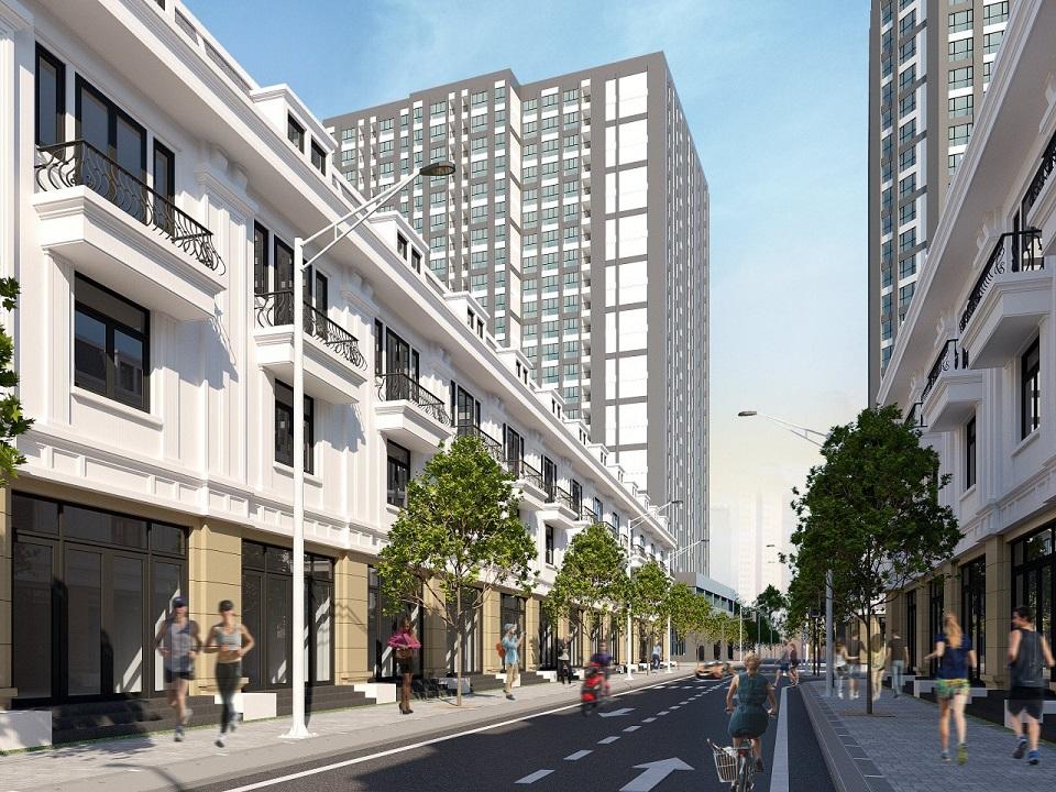 Phối cảnh khu nhà phố thương mại liền kề tại dự án khu phức hợp Alva Plaza