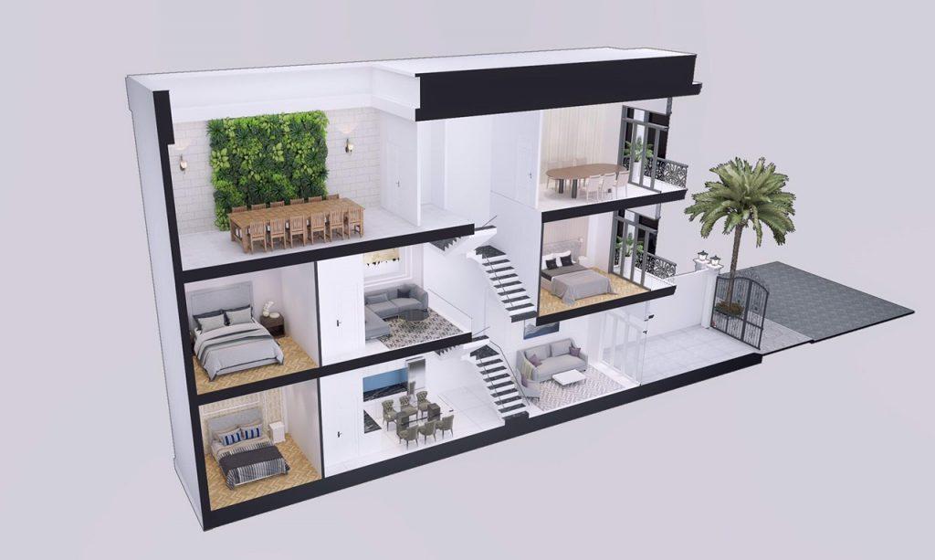 Phối cảnh thiết kế căn nhà phố tại dự án Louis Resident