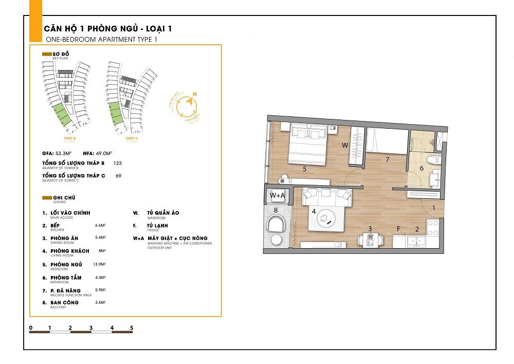 Thiết kế chi tiết căn hộ 1 phòng ngủ tại dự án Ninh Chữ Sailing Bay