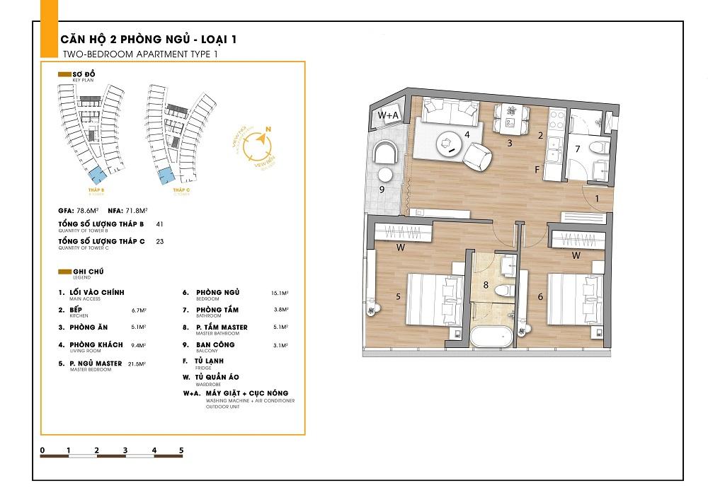 Thiết kế chi tiết căn hộ 2 phòng ngủ tại dự án Ninh Chữ Sailing Bay