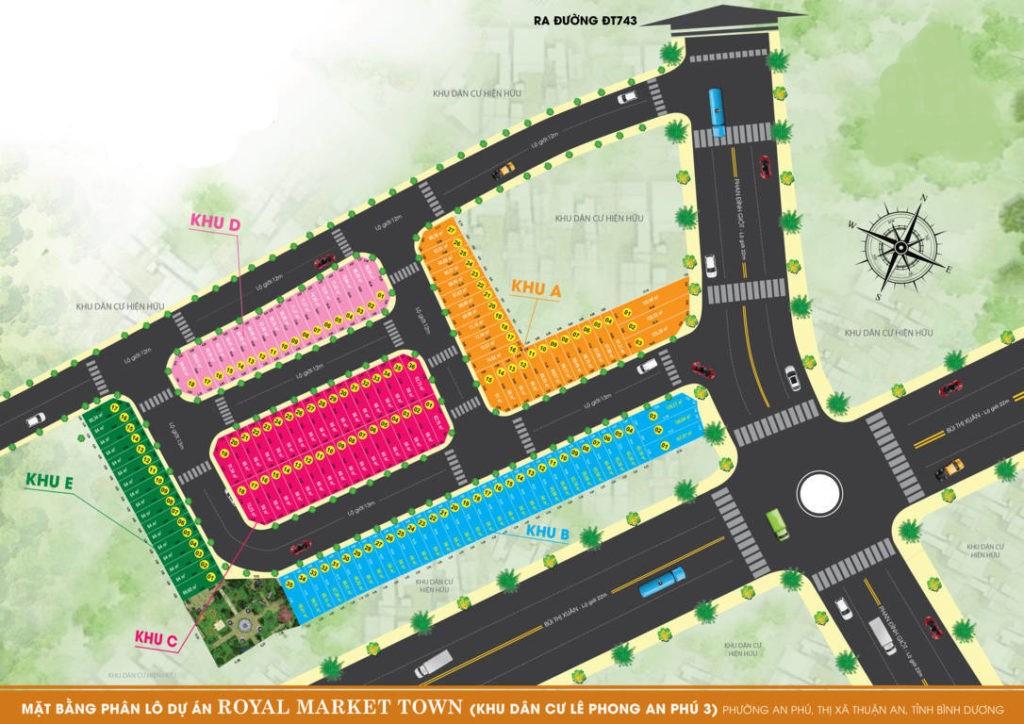 Mặt bằng phân lô dự án đất nền Royal Market Town