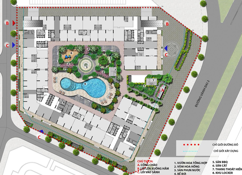 Mặt bằng tổng thể dự án tổ hợp căn hộ, biệt thự The Lotus Center