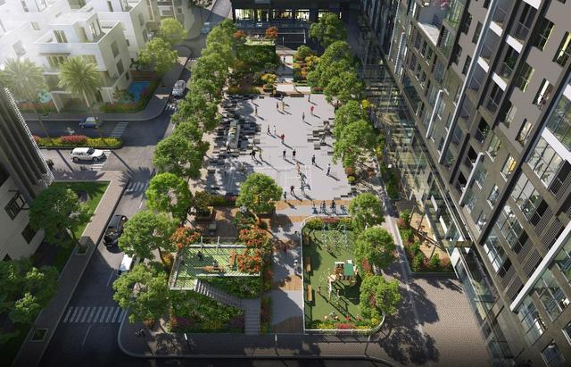 Phối cảnh trường học và khuôn viên xanh giải trí tại dự án Mipec Rubik360