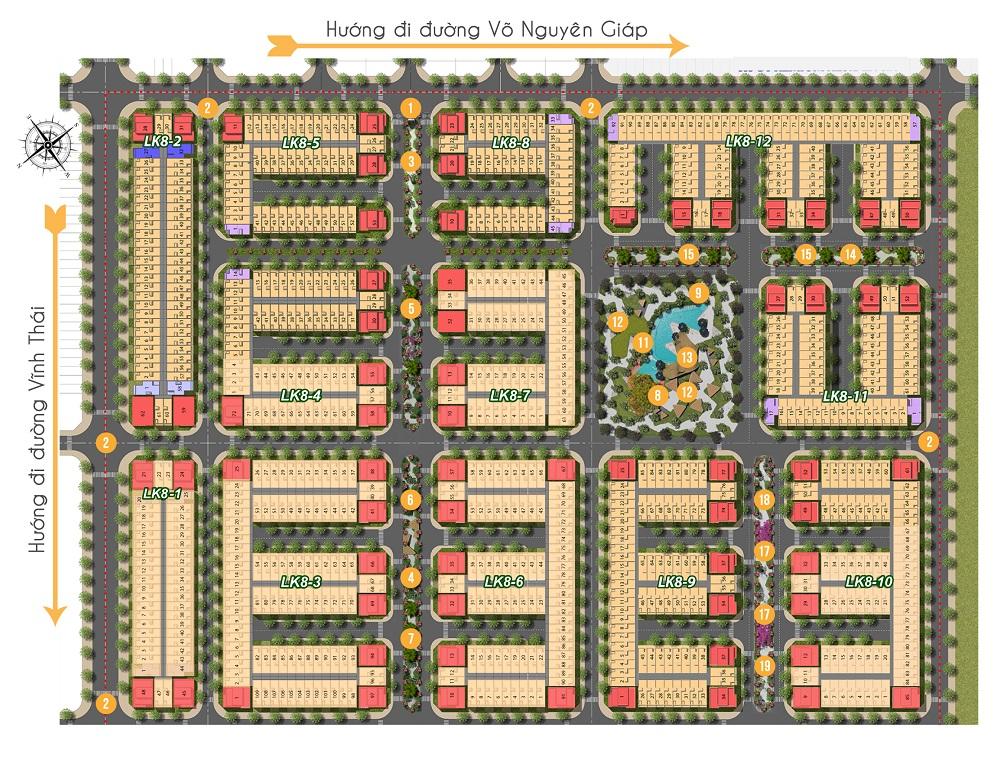 Mặt bằng tổng thể dự án khu đô thị KVG The Capella Garden