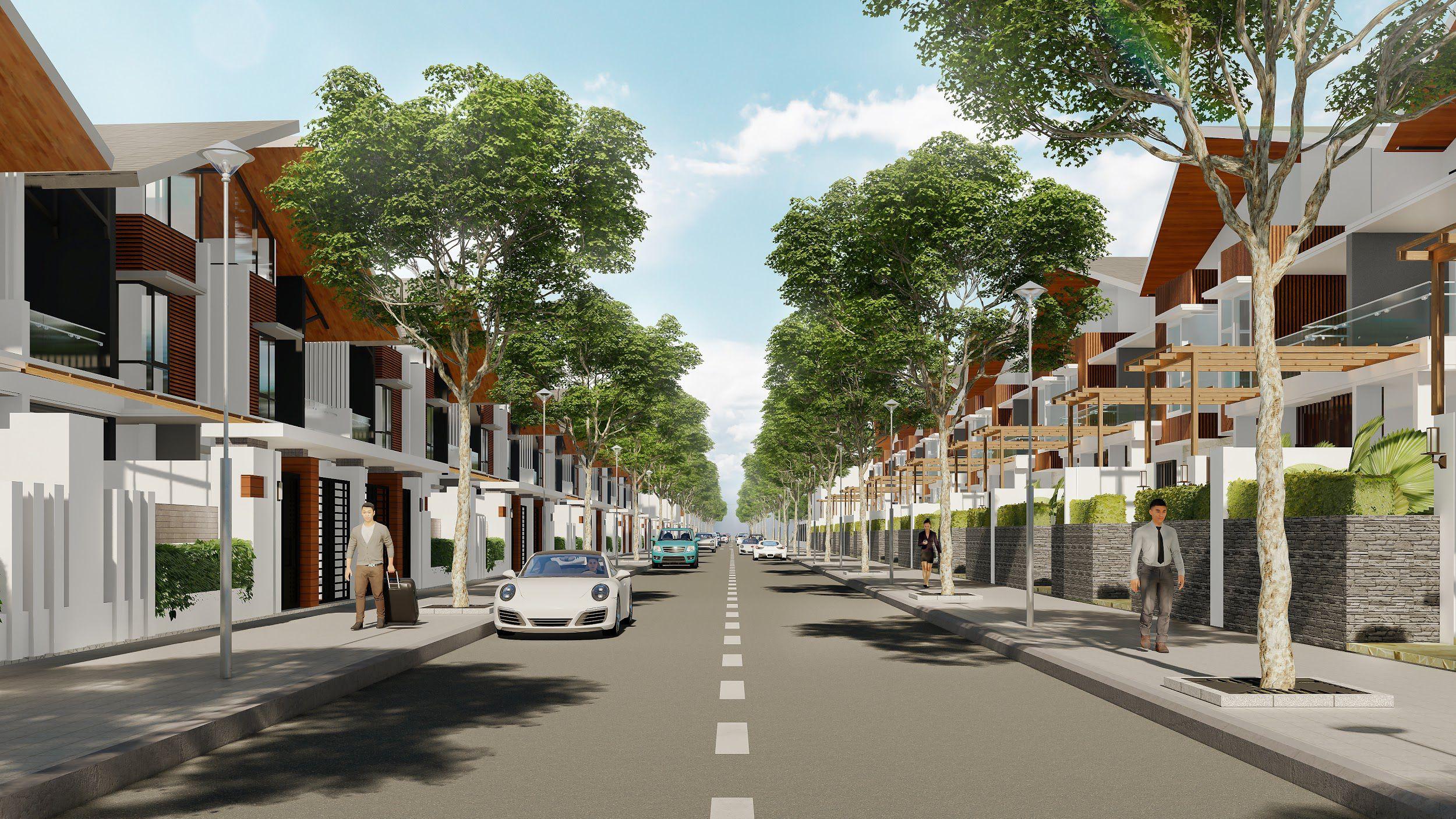 Phối cảnh dãy nhà phố tại dự án khu đô thị Phú Thịnh Center City
