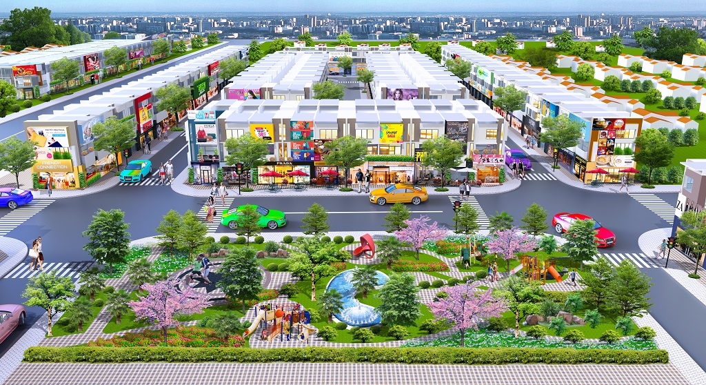 Phối cảnh nhà phố và công viên cây xanh tại dự án Golden Future City