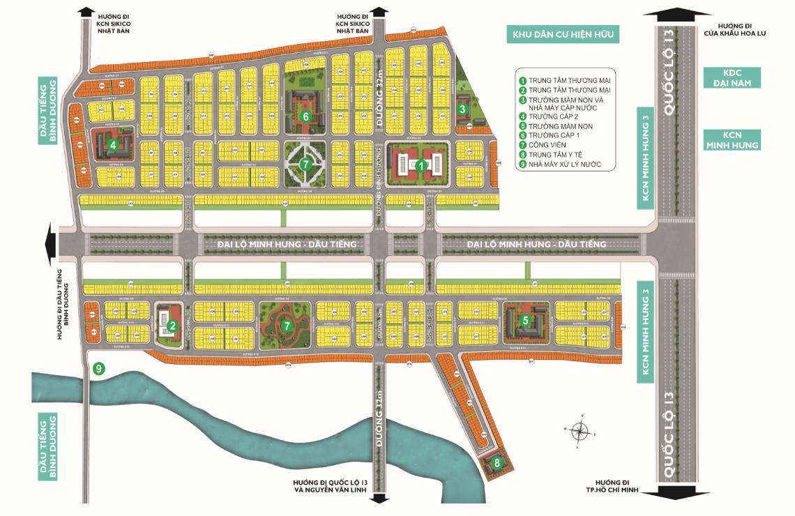 Mặt bằng tổng thể Khu đô thị Phúc Hưng Golden Bình Phước