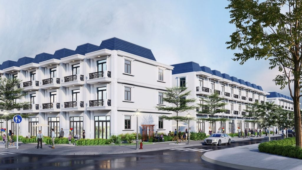 Phối cảnh các dãy nhà liền kề tại dự án khu đô thị Phương Nam River Park Bến Tre