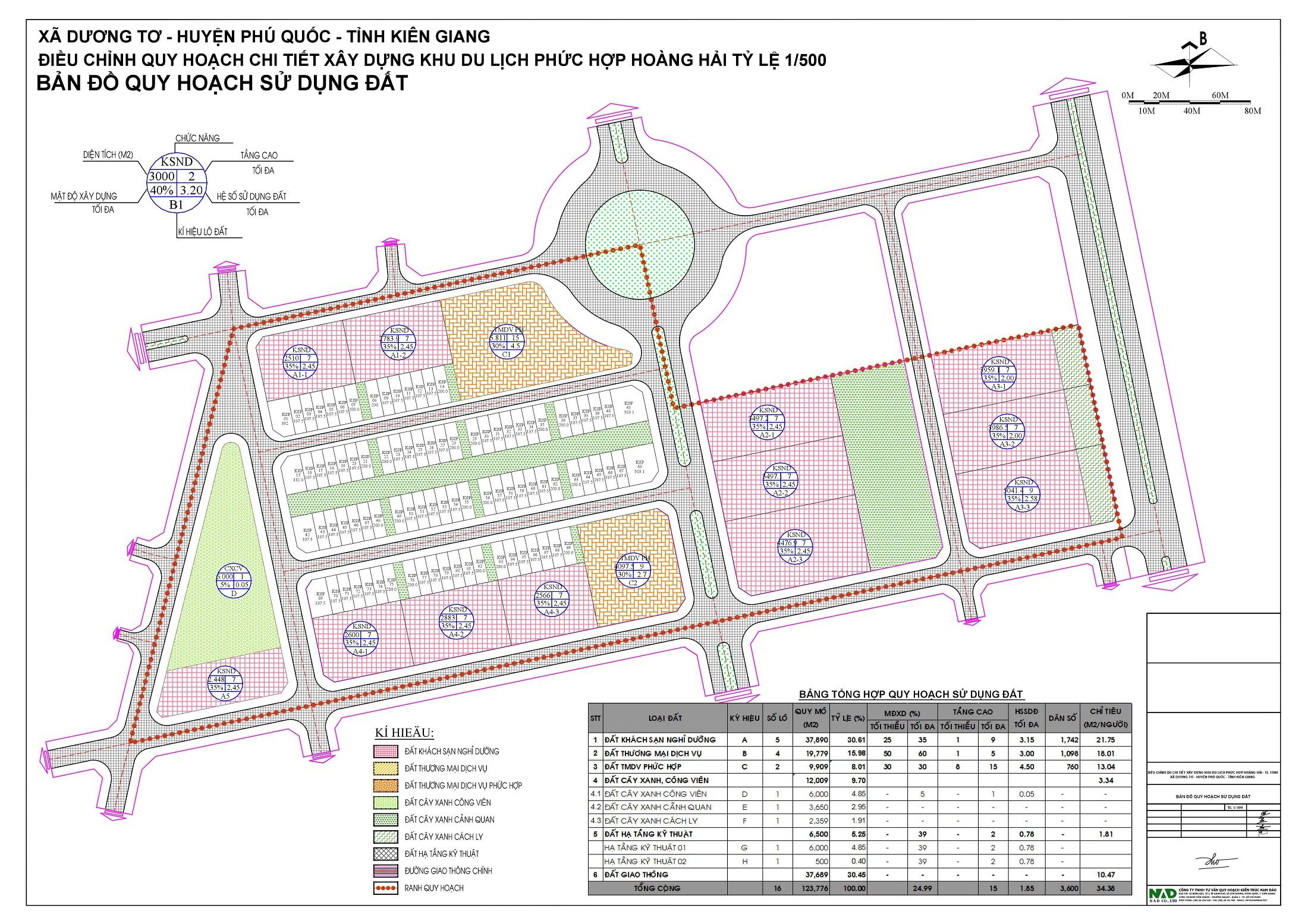 Bản đồ quy hoạch sử dụng đất khu du lịch nghỉ dưỡng Hoàng Hải Complex Phú Quốc