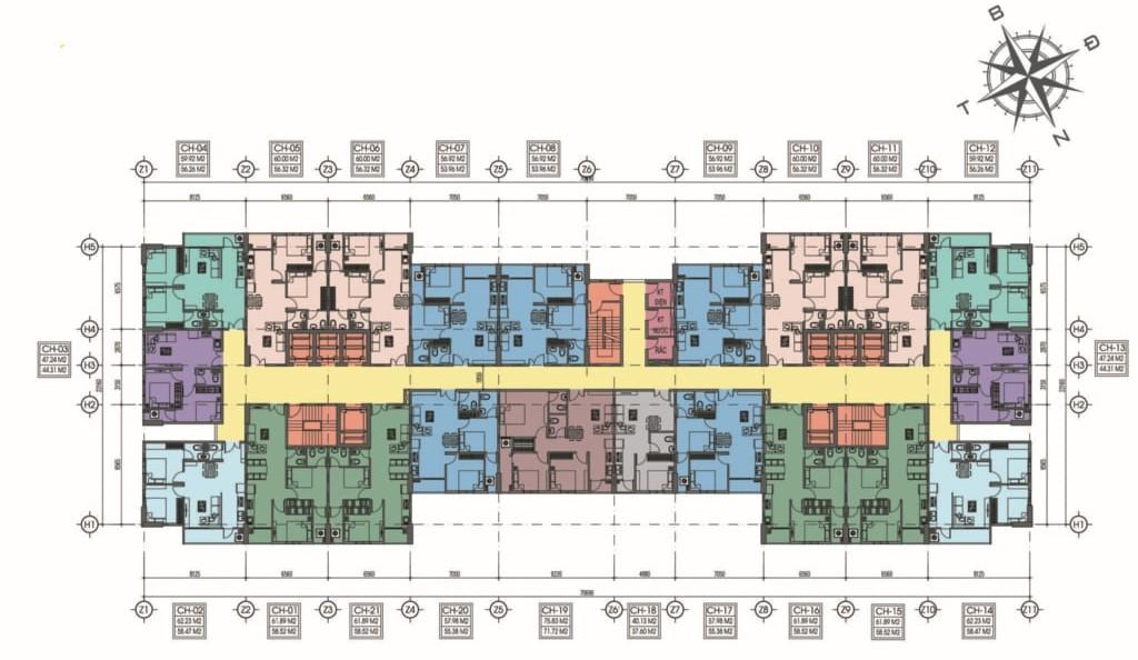 Mặt bằng tầng điển hình căn hộ Tecco Home An Phú Bình Dương
