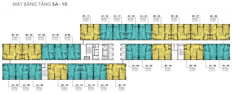 Mặt bằng tầng điển hình dự án căn hộ Golf View Luxury Apartment Đà Nẵng