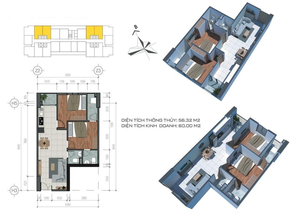 Phối cảnh căn hộ mẫu tại dự án Tecco Home An Phú