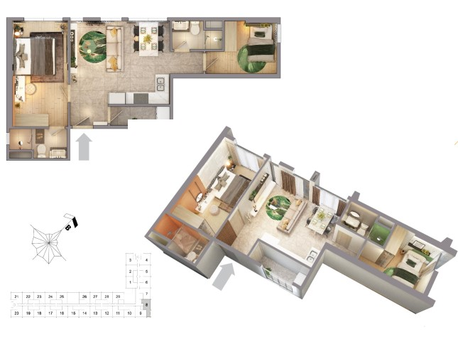 Phối cảnh chi tiết căn hộ mẫu tại dự án CitiGrand