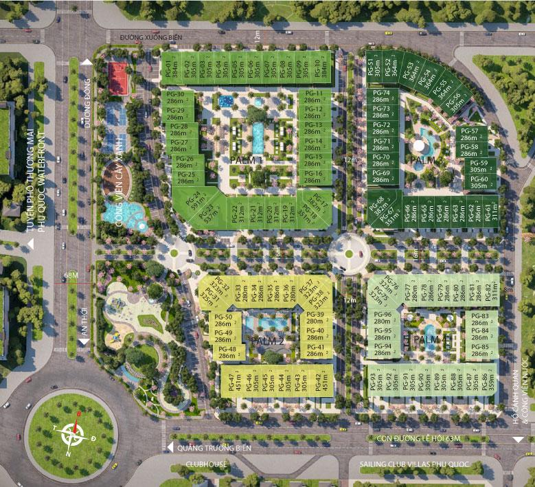 Mặt bằng biệt thự Palm Garden Shop Villas Phú Quốc - Phú Quốc Marina