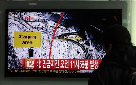 Truyền hình Triều Tiên đưa tin về vụ thử hạt nhân hôm 12 2