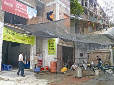 Biệt thự bỏ hoang tại khu đô thị Văn Khê (Hà Đông, Hà Nội) chia đôi làm quán bánh cuốn, rửa xe (ảnh lớn)            Nhà liền kề tại khu đô thị Mỗ Lao (Hà Đông, Hà Nội) xây thô cho thuê lại kinh doanh hàng quán (ảnh nhỏ)