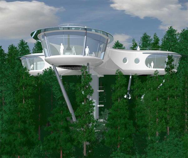Ngôi nhà có kiểu dáng giống như tàu vũ trụ này sẽ là một trong những thiết kế phổ biến nhất của nhà cây trong tương lai. Ngoài thiết kế bắt mắt, ngôi nhà này được xây dựng từ 70% nguyên vật liệu tái tạo được, vì vậy nó thực sự thân thiện với môi trường. Ngôi nhà cây này được định giá khoảng 1,9 triệu USD.