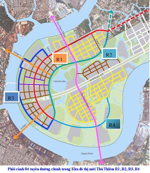 Phối cảnh 4 tuyến đường chính Khu đô thị mới Thủ Thiêm: (R1 – Đại lộ vòng cung, R2 – Đường ven hồ trung tâm, R3 – Đường ven sông SG, R4 – Đường vùng châu thổ).