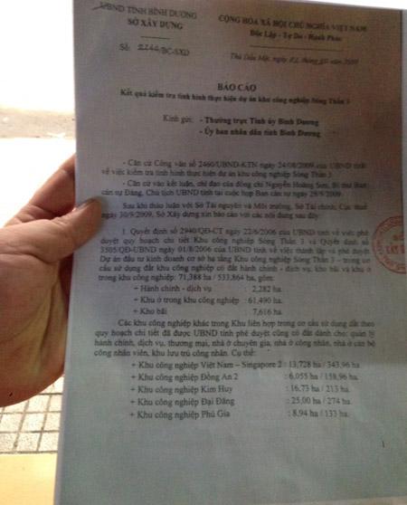 Văn bản mà tỉnh Bình Dương cung cấp cho một số báo tại cuộc họp bất thường ngày 24.10.