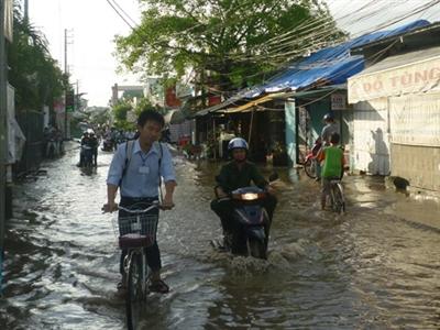 Đường ở khu tập thể Ngân hàng Công thương Cần Thơ, thành sông mỗi khi mưa.            ẢNH: TRƯỜNG CA