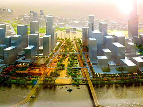 Phối cảnh quảng trường và công viên bờ sông của khu đô thị mới Thủ Thiêm, quận 2, TP HCM Ảnh: Defrain Souquet Deso