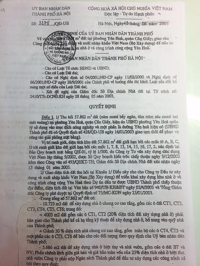 Văn bản do PCT UBND TP Hà Nội ký về việc dành 2.715m2 làm khuôn viên cây xanh