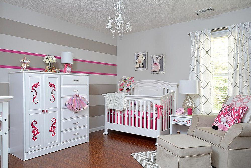 phong be 2 1480527412 Xu hướng trang trí phòng bé với màu hồng và màu xám mới nhất