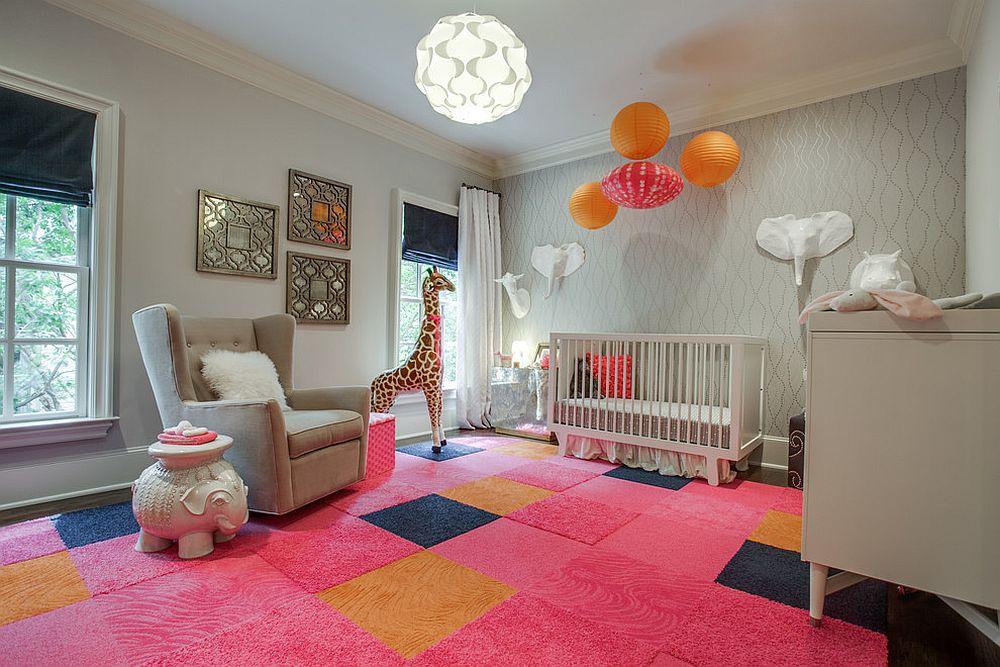 phong be 4 1480527476 Xu hướng trang trí phòng bé với màu hồng và màu xám mới nhất