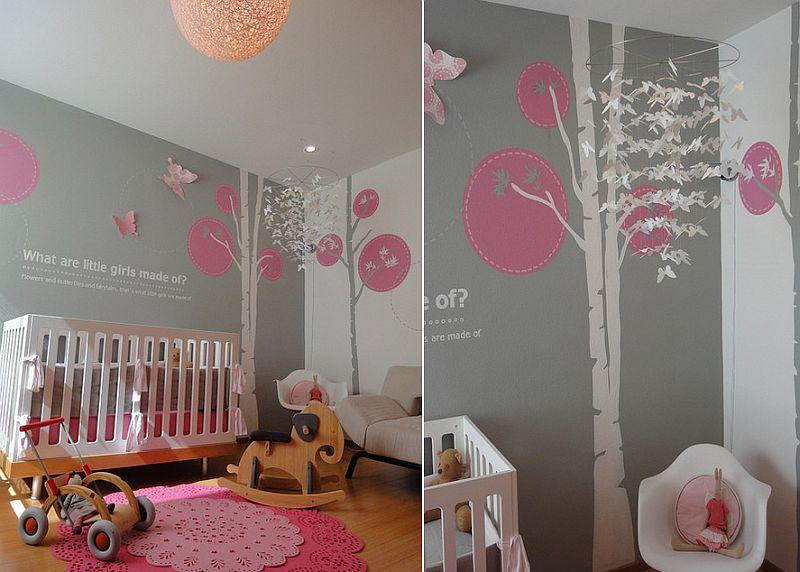 phong be 8 1480581953 Xu hướng trang trí phòng bé với màu hồng và màu xám mới nhất