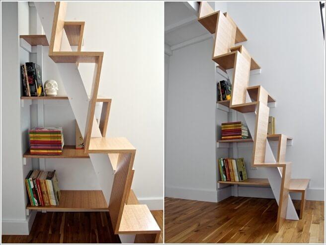 Thiết kế cầu thang độc đáo lưu trữ sách
