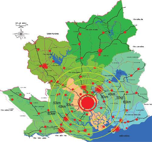 Quy hoạch vùng TP.HCM với 4 tiểu vùng bao trùm 8 tỉnh thành
