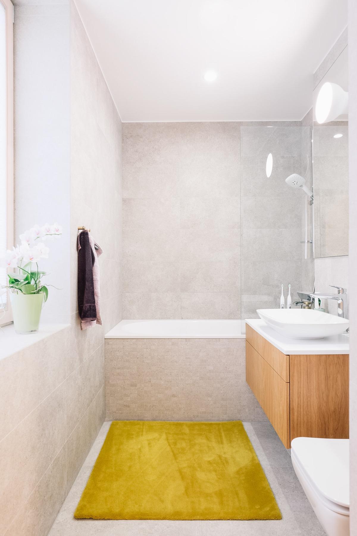 Kết hợp tông màu xanh, vàng với phong cách thiết kế tối giản