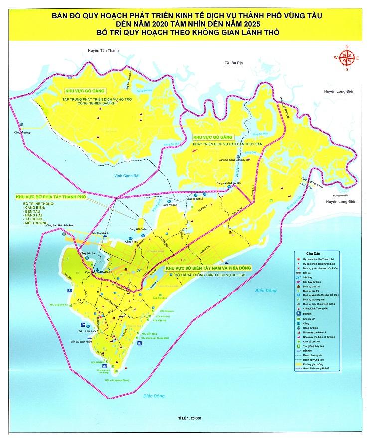 Điều chỉnh quy hoạch Thành phố Vũng Tàu với diện tích 15.000ha, gồm 10 phân khu chính