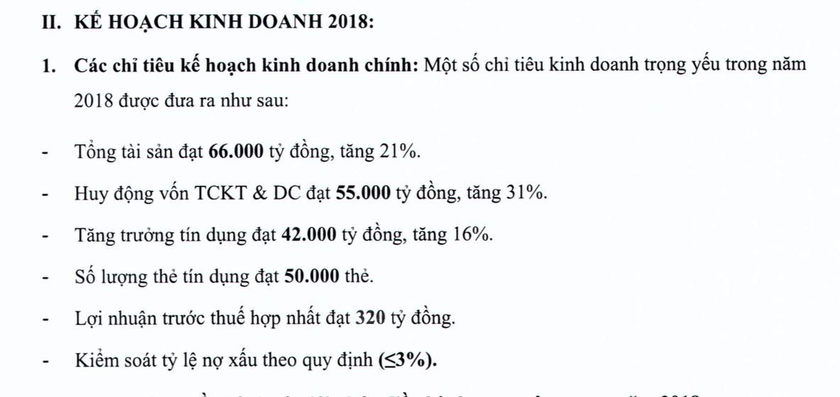Kế hoạch kinh doanh Ngân hàng Nam Á năm 2018
