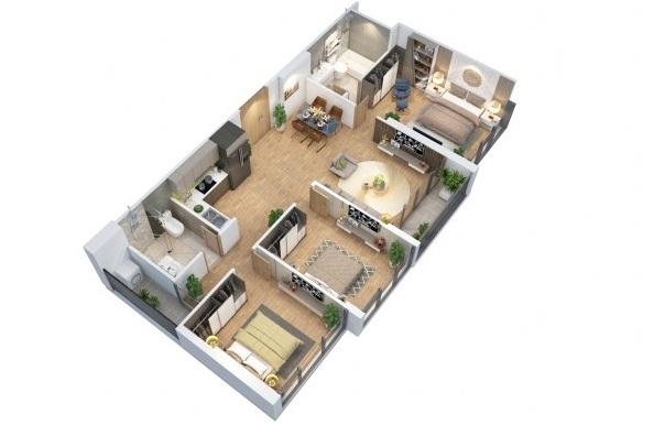 """""""Bóc"""" thiết kế căn hộ 3 phòng ngủ tại dự án Eco-Green Saigon"""