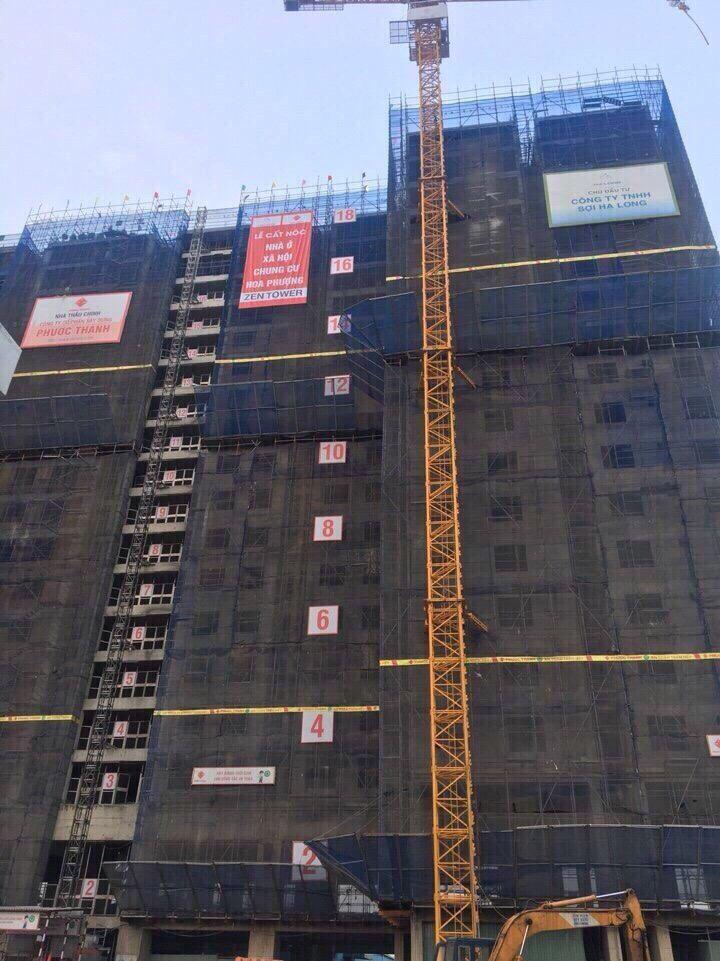 Tiến độ thi công căn hộ Zen Tower quận 12 tại thời điểm cất nóc hồi tháng 4/2018