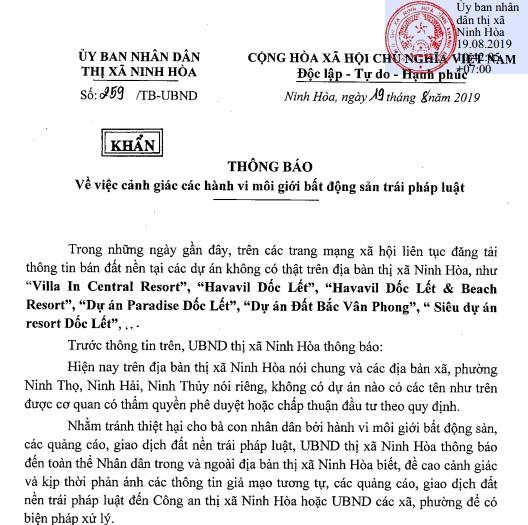 Cảnh báo dự án ma trên địa bàn thị xã Ninh Hòa Cảnh báo dự án ma trên địa bàn thị xã Ninh Hòa thi xa ninh hoaduanma 1566479367