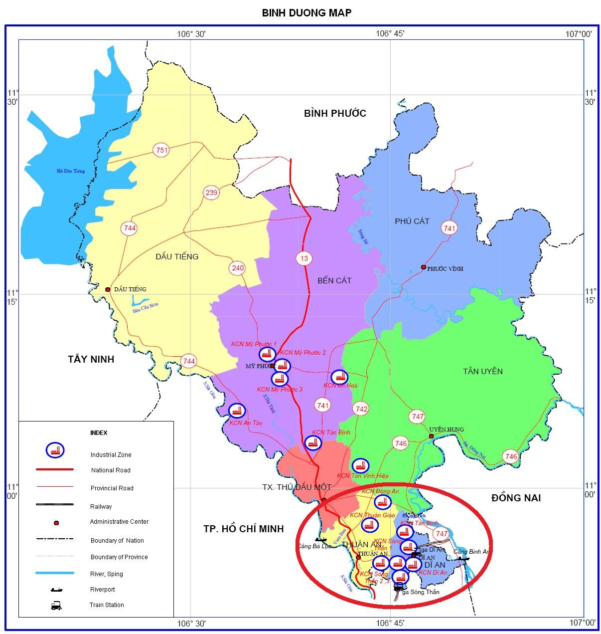 Bản đồ quy hoạch tỉnh Bình Dương - Thành lập thành phố Dĩ An