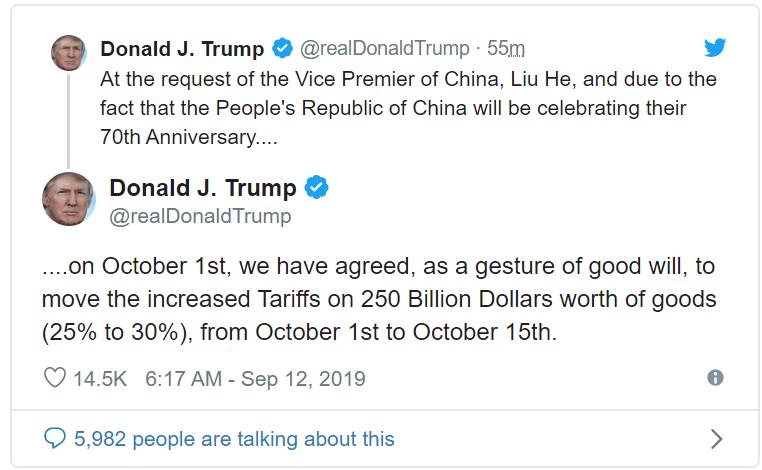 ông Trump cho biết sẽ hoãn nâng 250 tỷ USD hàng hoá Trung Quốc trên Tweet Mỹ hoãn nâng thuế 250 tỷ USD hàng hóa Trung Quốc Mỹ hoãn nâng thuế 250 tỷ USD hàng hóa Trung Quốc tweettrump 1568285806