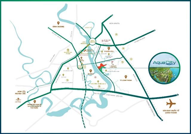 vị trí dự án aqua city đồng nai