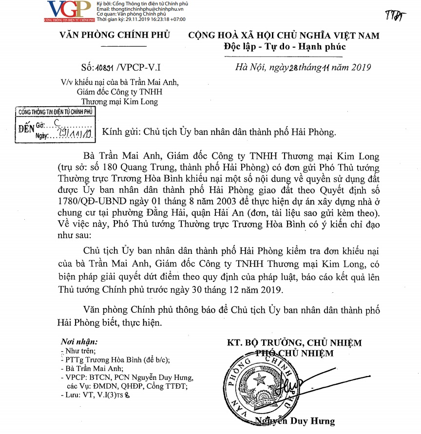 Giải quyết dứt điểm vụ khiếu kiện đất đai Công ty Kim Long trước 30/12/2019 cty kimlong 1575111106