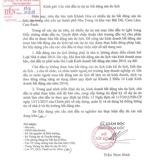Danh sách 129 dự án bất động sản du lịch không được phép bán cho người nước ngoài ở Khánh Hòa danh sach 129 du an 1576930831