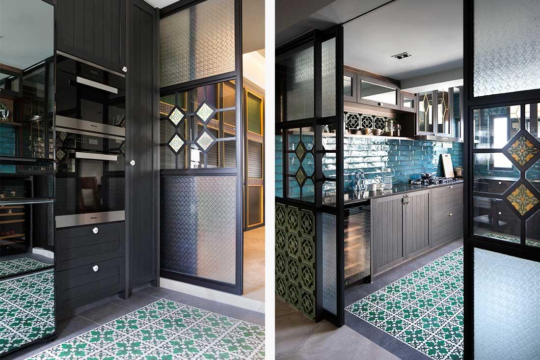 Gạch lát nền phòng bếp sắc xanh mát mẻ