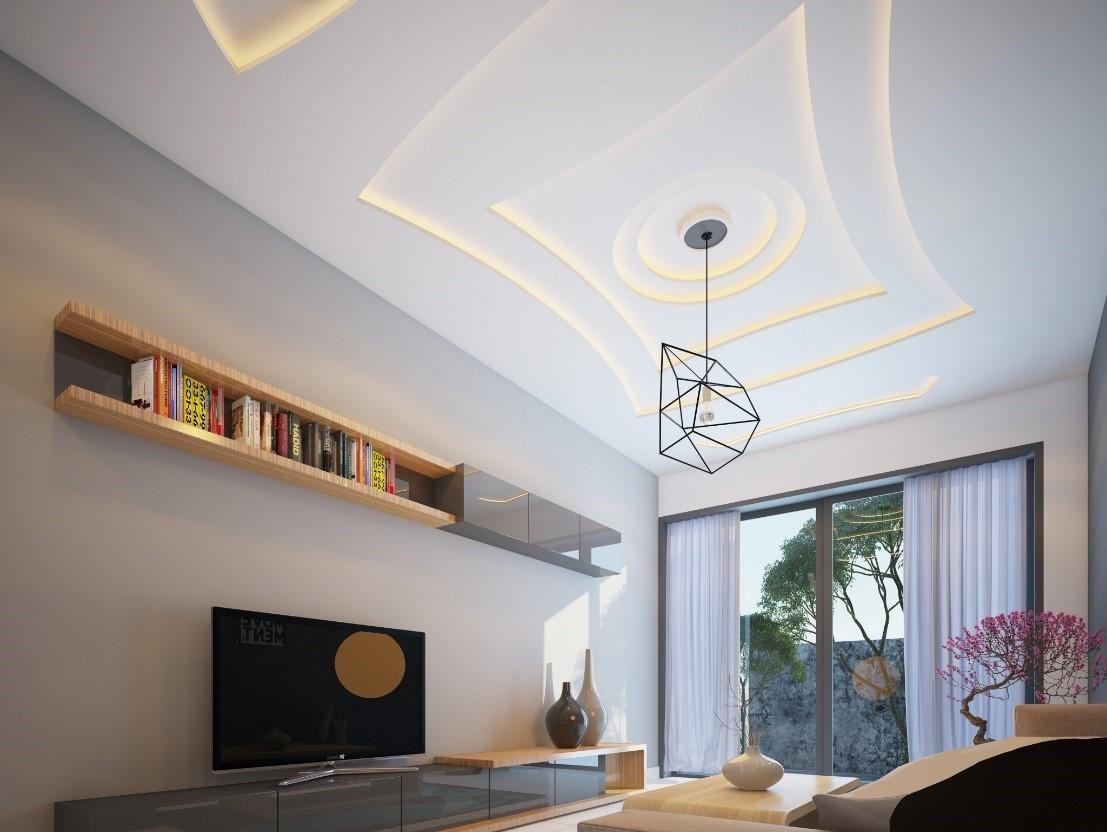 Trần thạch cao phòng khách nhà ống