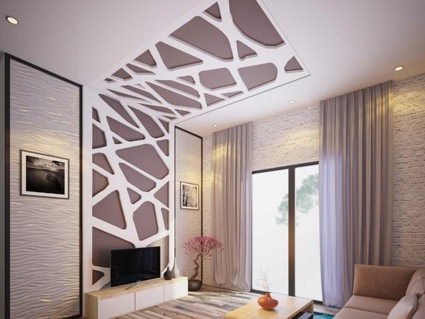 Trần thạch cao phòng khách nhà ống hiện đại
