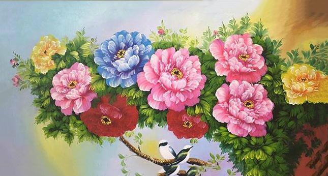 Ý nghĩa tranh 9 bông hoa mẫu đơn