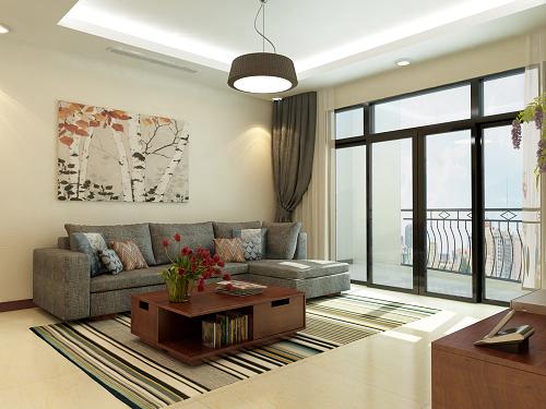 Phòng khách ấn tượng với sofa màu nâu trầm