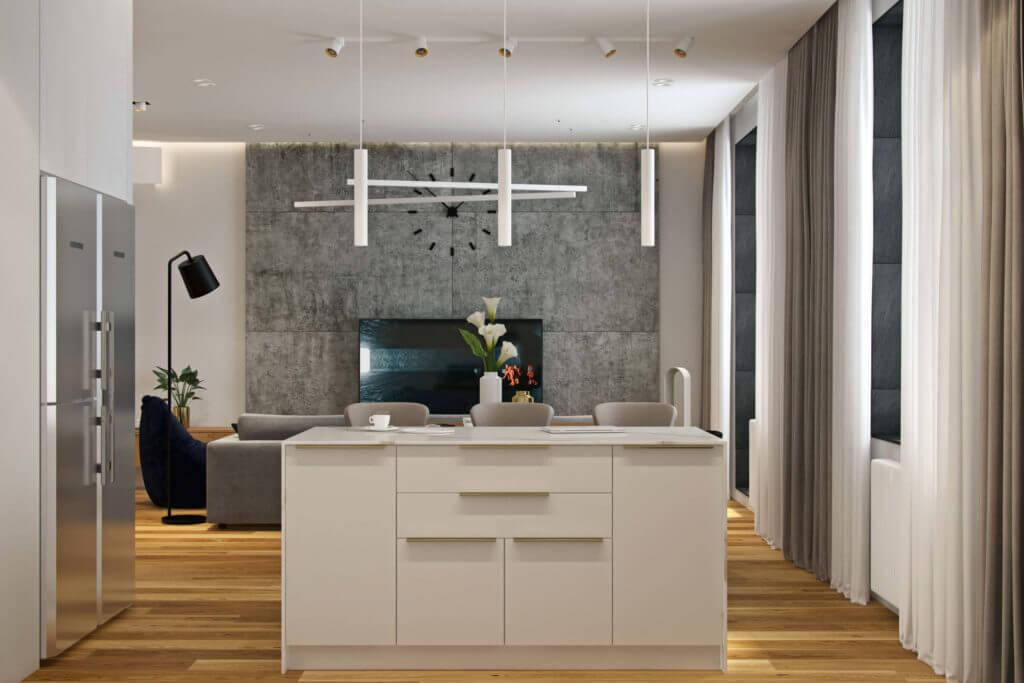 Đẹp ngỡ ngàng căn hộ bằng đá cẩm thạch và gỗ