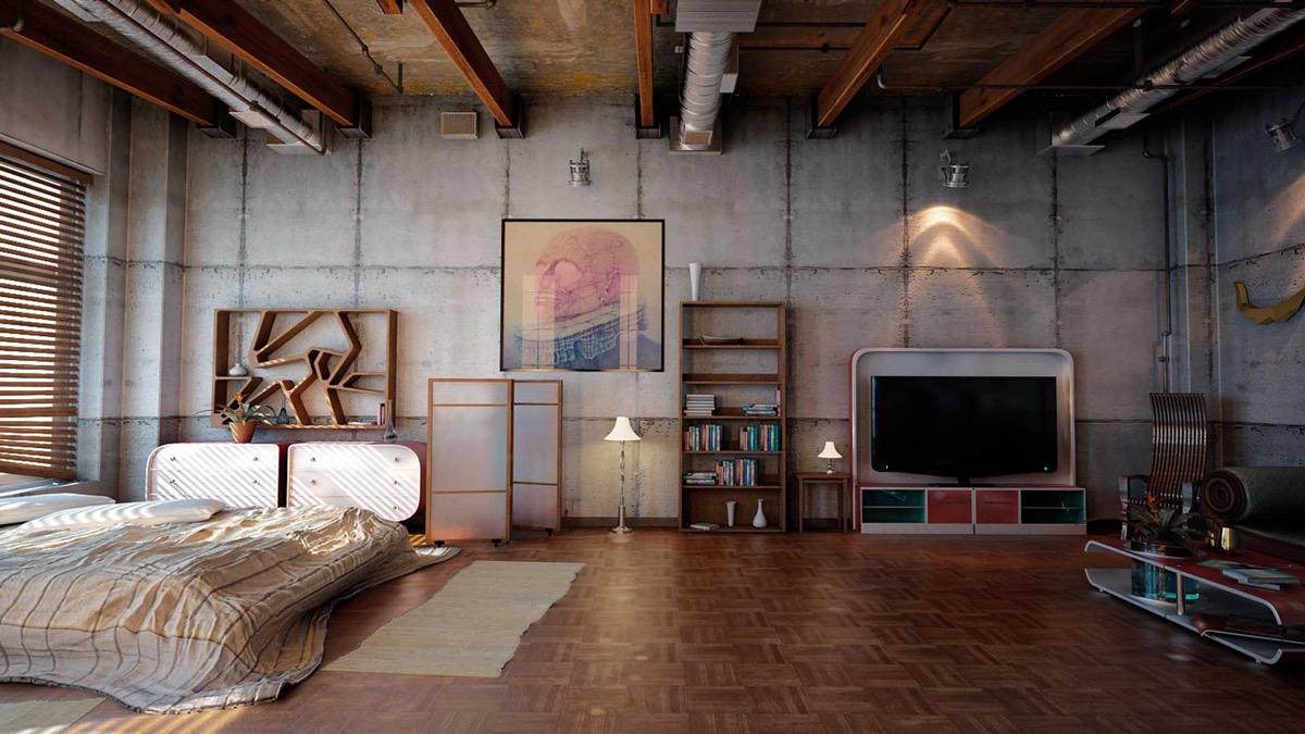 Phòng ngủ phong cách công nghiệp đầy cá tính