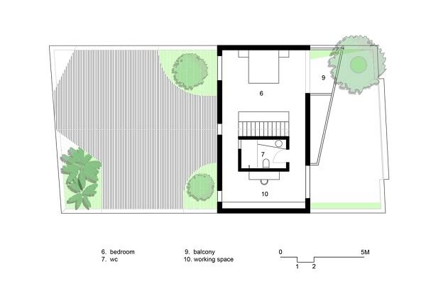 Ngôi nhà đơn giản với sân trong nhà